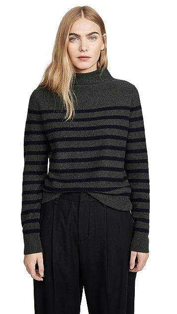 Vince Brenton Stripe Cashmere Sweater Heather Moss/coastal