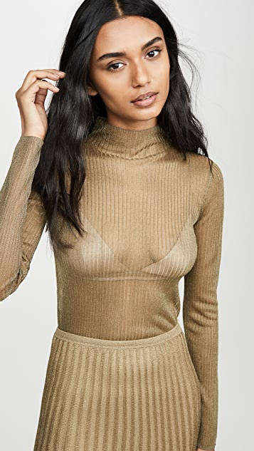 Vince Metallic Ribbed Mock Neck Sweater