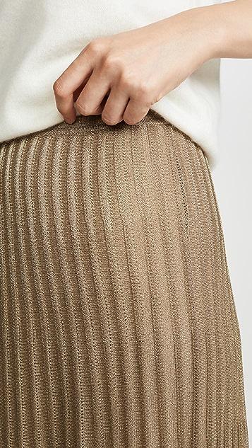 Vince Pleated Metallic Skirt