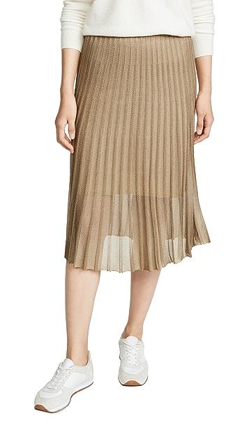 Vince 金属色褶皱半身裙