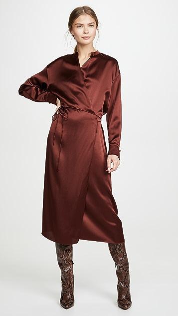 Vince 长袖裹身式连衣裙