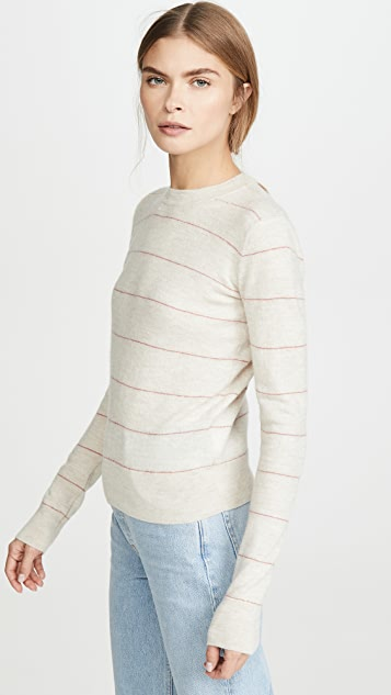 Vince Striped Fitted Cashmere Crew Sweater