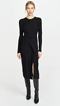 Long Sleeve Draped Dress