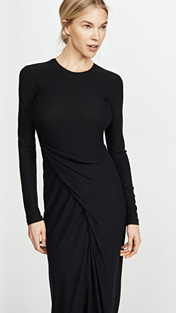 Vince Long Sleeve Draped Dress