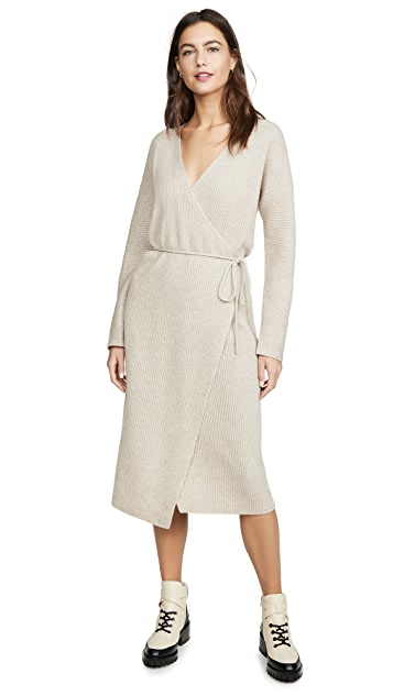 Vince Ribbed Wrap Dress