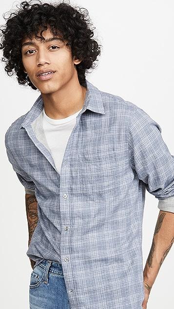 Vince Double Face Grid Plaid Shirt