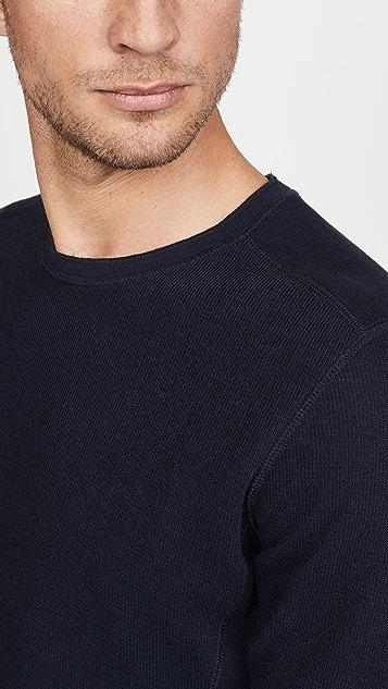 Vince Long Sleeve Crew Neck Waffle Shirt