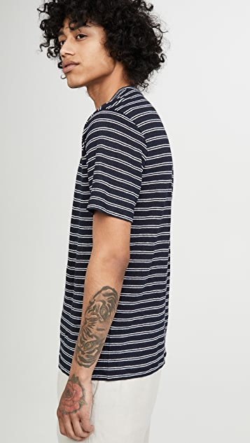Vince Short Sleeve Striped Henley