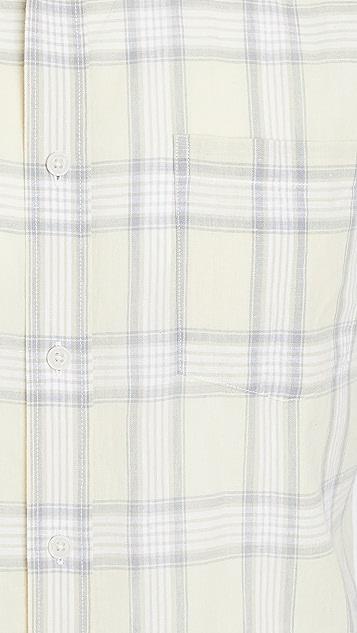 Vince Linen Plaid Short Sleeve Shirt