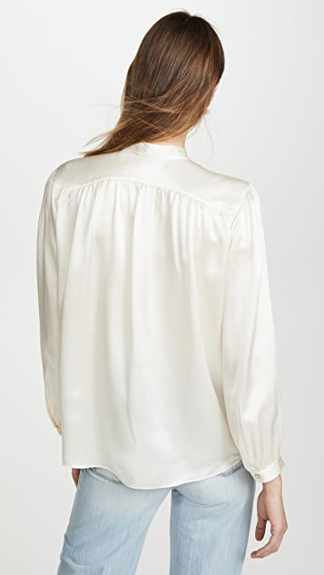 Vince Shirred Band Collar Blouse