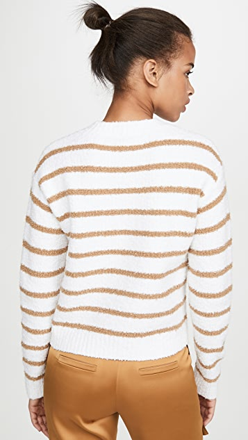 Vince Striped Waffle Stitch Crew Sweater