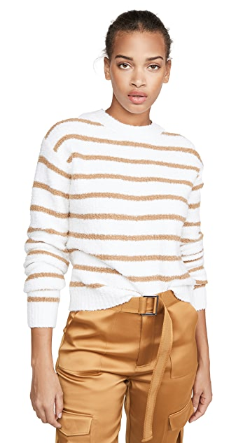 Vince 条纹华夫格缝线圆领毛衣