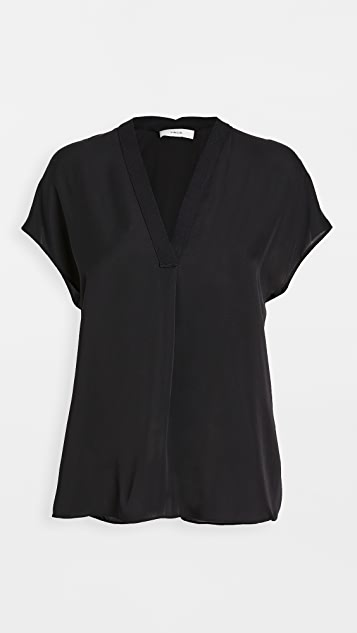 Vince Short Sleeve Rib Trim Double V Neck Blouse