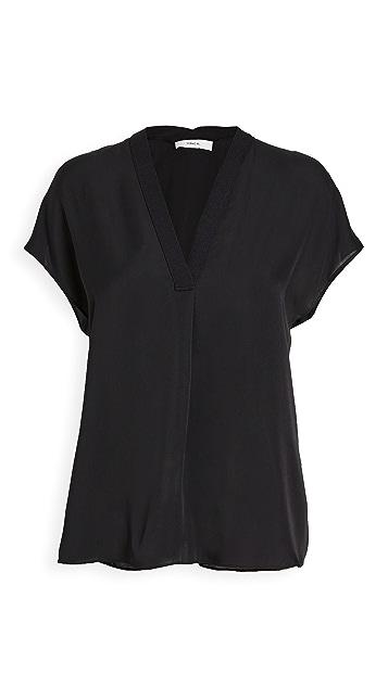 Vince 罗纹镶边双重 V 领短袖女式衬衫