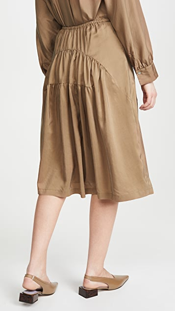 Vince Shirred Silk Habotai Skirt