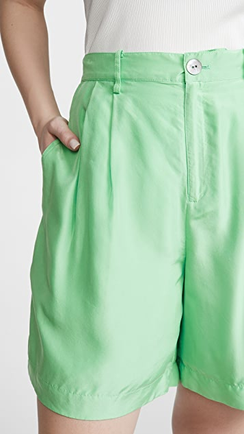Vince 垂褶真丝电力纺短裤