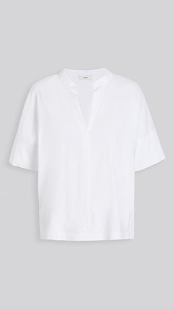 Vince 短袖亚麻套头衬衫