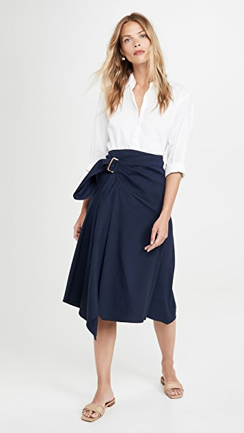 Vince Side Buckle Draped Skirt