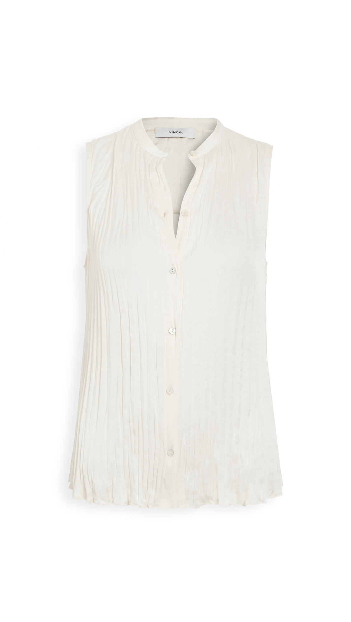 Vince Sleeveless Crushed Band Collar Blouse