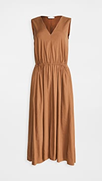 Vince Drawstring V Neck Dress