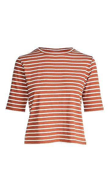 Vince Vintage Stripe Elbow Sleeve Crew Tee