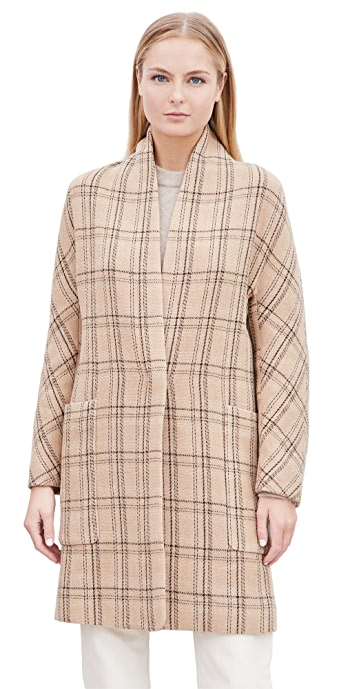 Vince Plaid Collarless Coat - Camel