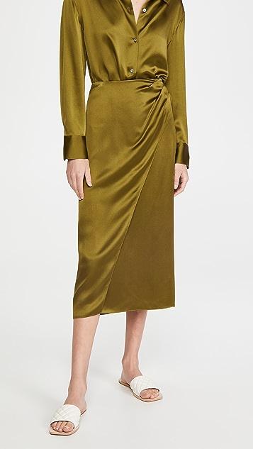 Vince Side Pleat Wrap Silk Skirt