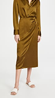 Vince Side Pleat Wrap Silk Skirt