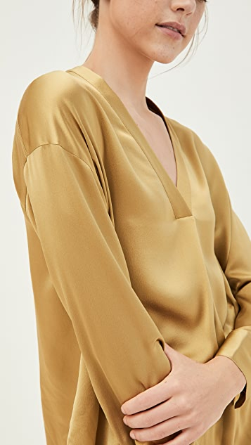 Vince V Neck Popover Silk Shirt