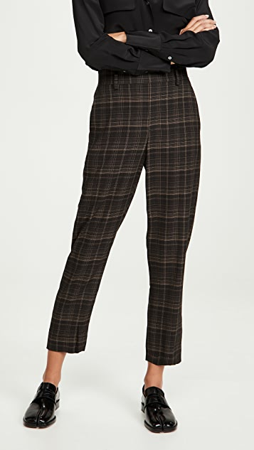 Vince Classic Plaid Pull On Pants