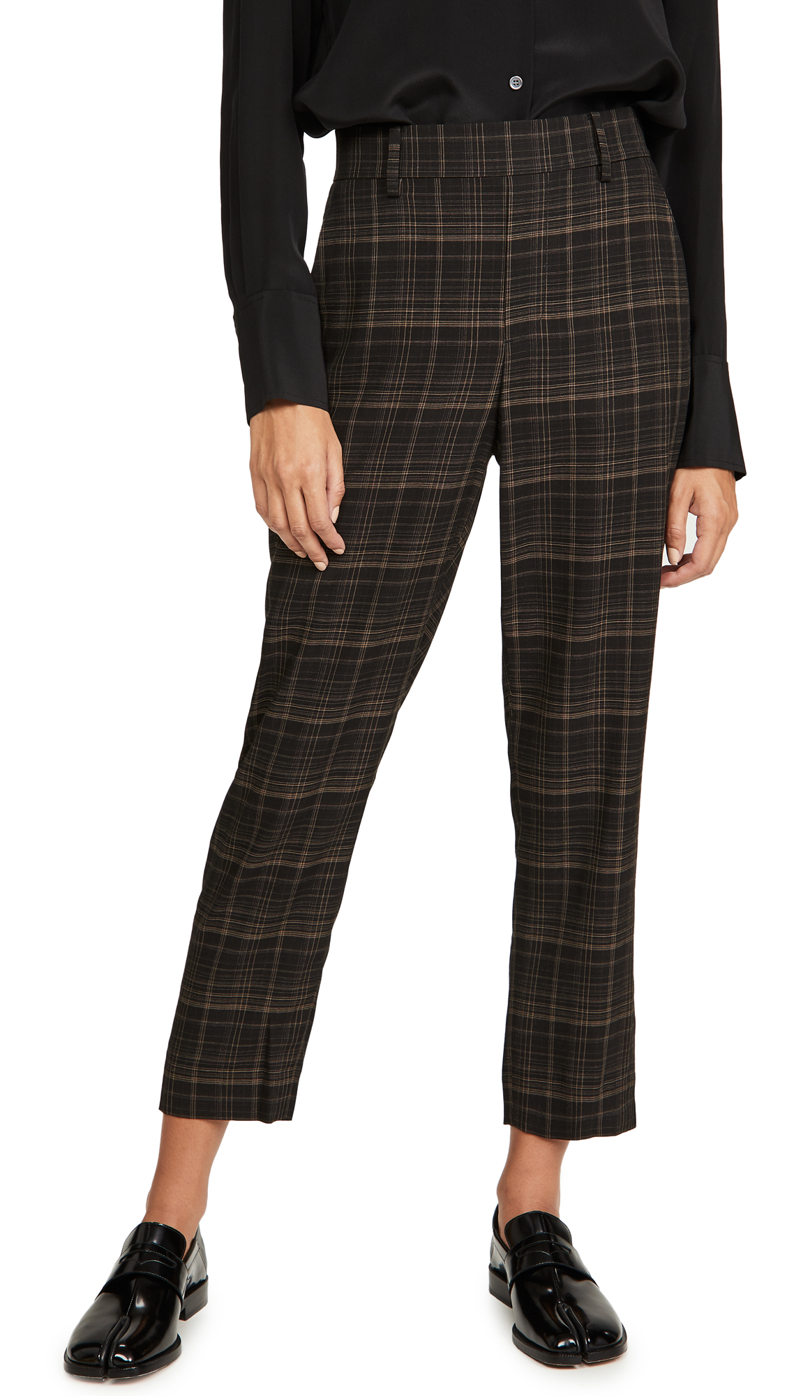Vince Classic Plaid Pull On Pants