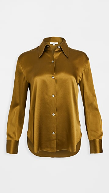 Vince Shaped Collar Silk Blouse