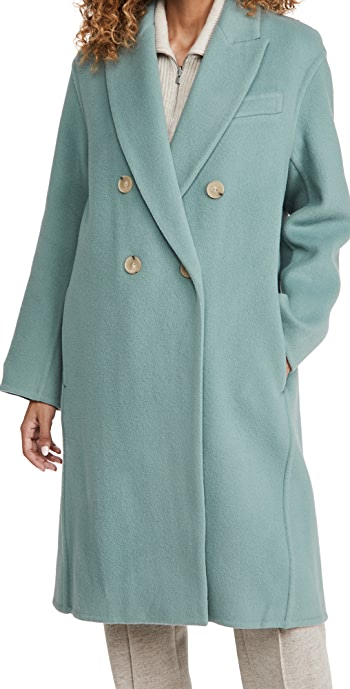 Vince Double Breasted Oversized Coat - Patina