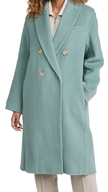 Vince Double Breasted Oversized Coat in Patina Blue