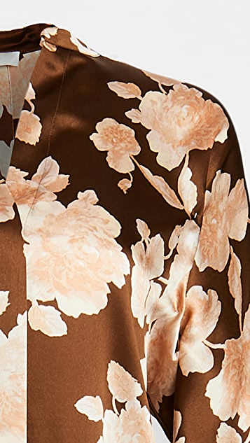 Vince Tapestry Floral Popover Blouse