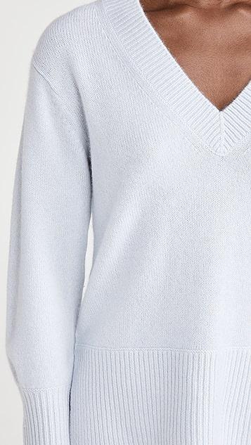Vince Cashmere Ribbed Hem V Neck Sweater