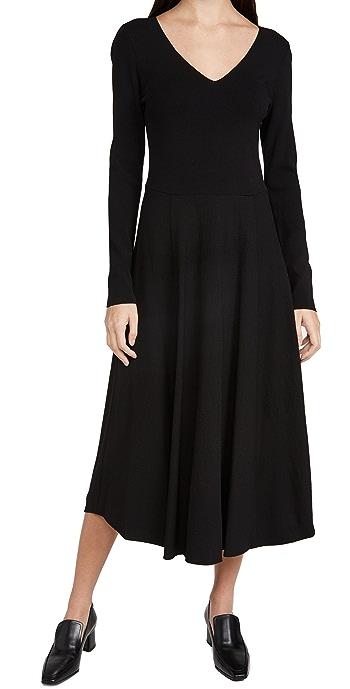 Vince Mixed Media V Neck Dress - Black