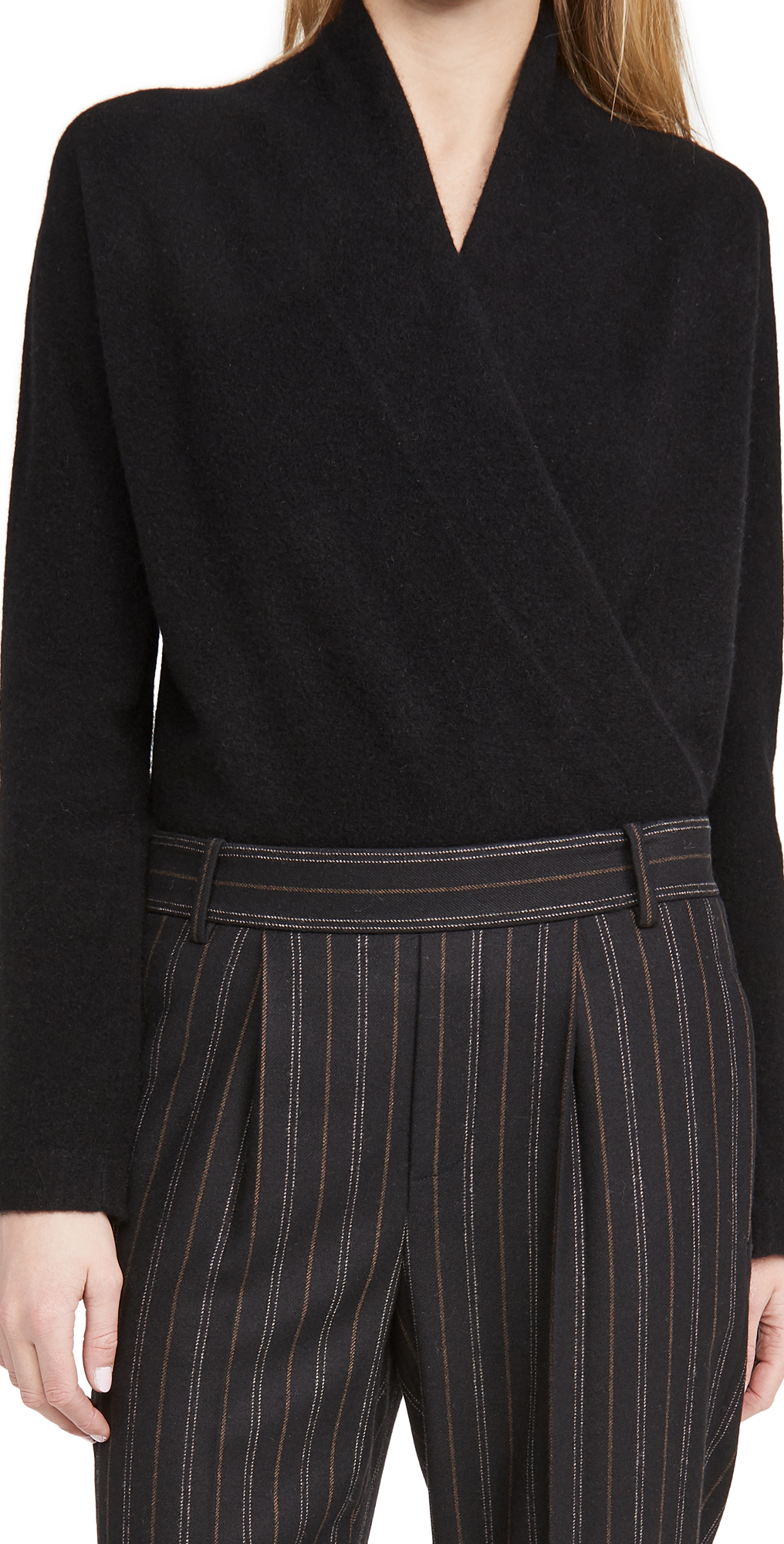 Vince Wrap Front Cashmere Pullover
