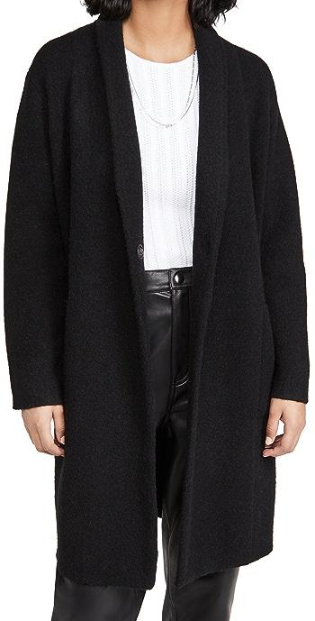 Vince Collarless Cardigan Coat - Black