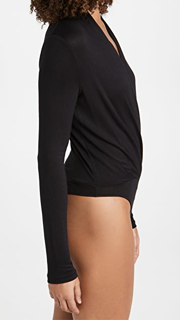 Vince Long Sleeve Crossover Thong Bodysuit