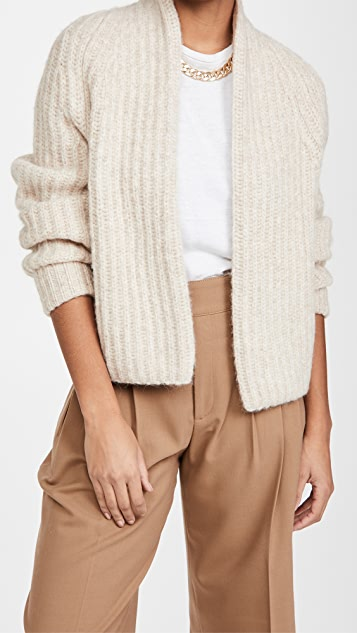 Vince Ribbed Cropped Alpaca Cardigan