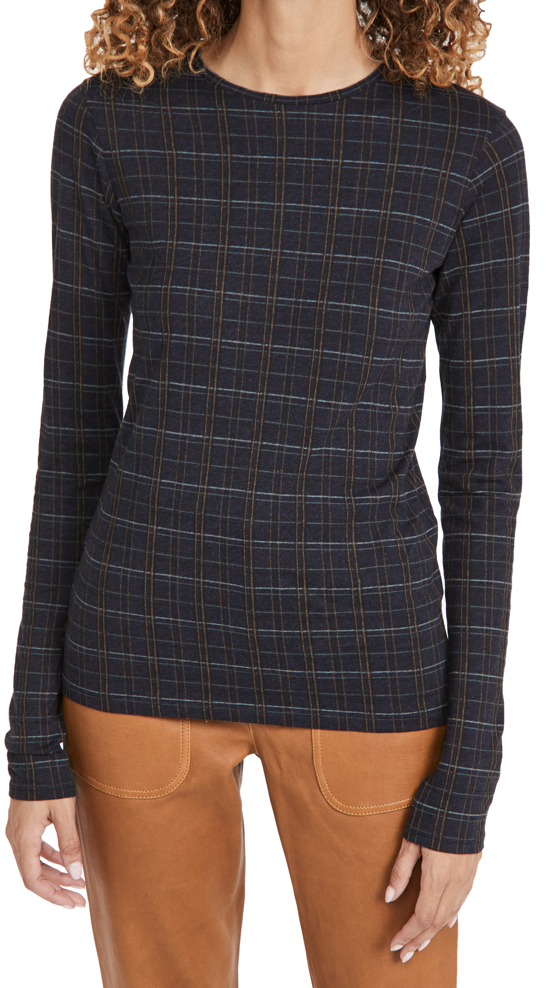 Vince MODERN PLAID LONG SLEEVE CREW