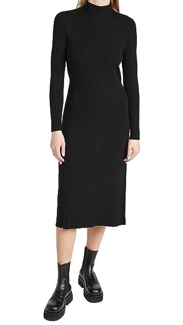 Vince Variegated Rib Turtleneck Dress