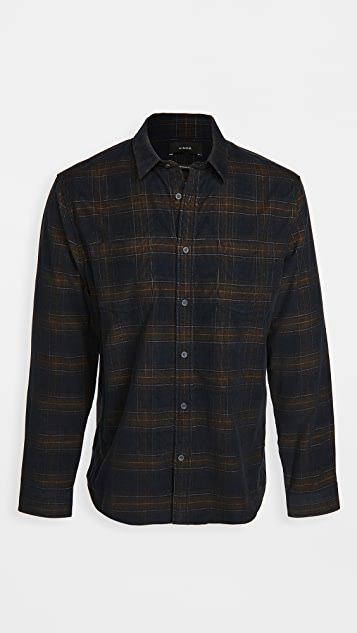 Vince Long Sleeve Corduroy Plaid Shirt