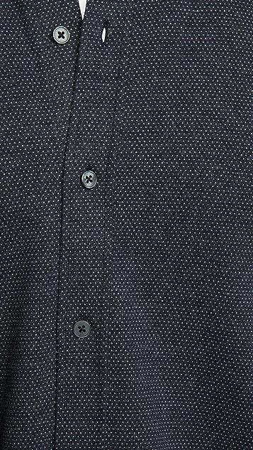 Vince Long Sleeve Birdseye Button Down Shirt