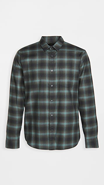 Vince Multi Shadow Plaid Long Sleeve Shirt