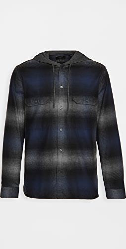 Vince - Ombre Plaid Hoodie Long Sleeve
