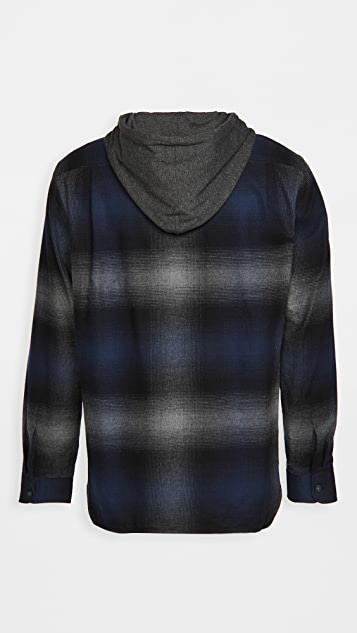 Vince Ombre Plaid Hoodie Long Sleeve