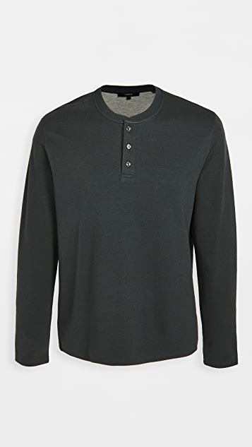Vince Long Sleeve Double Knit Henley Shirt