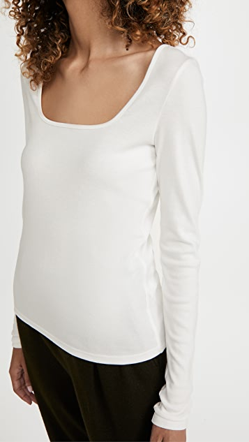 Vince Long Sleeve Square Neck Shirt